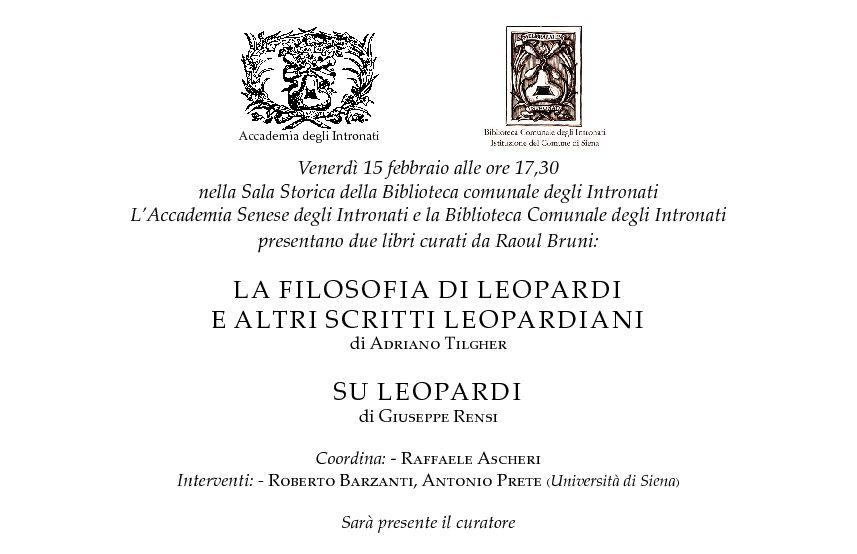 """Presentazione dei volumi """"La filosofia di Leopardi e altri scritti leopardiani"""" e """"Su Leopardi"""""""
