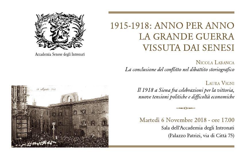 """Conferenza conclusiva ciclo """"1915-1918: anno per anno la grande guerra vissuta dai senesi"""""""