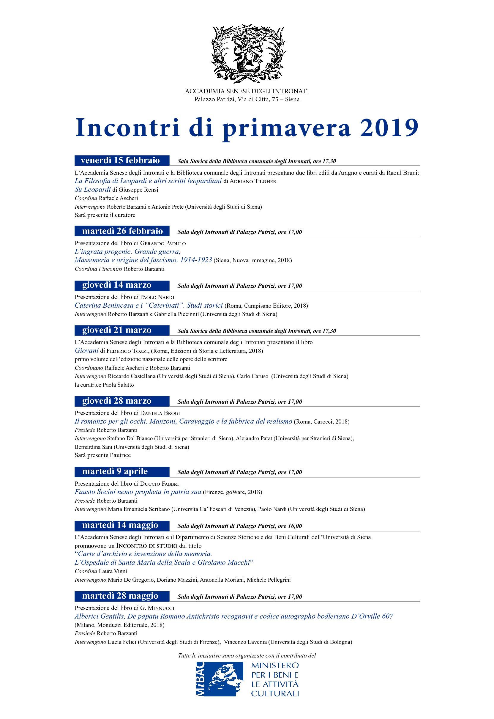 Programma degli incontri di primavera 2019