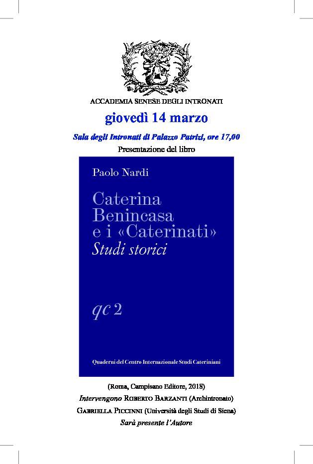 """Presentazione del libro """"Caterina Benincasa e i """"Caterinati"""" di Paolo Nardi"""
