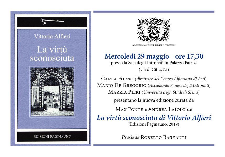 """Presentazione del volume di Vittorio Alfieri """"La virtù sconosciuta"""""""