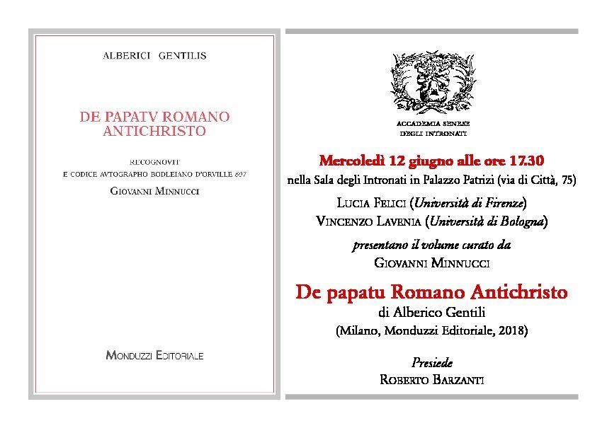 """Presentazione volume """"De papatu Romano Antichristo"""" di Alberico Gentili curato da Giovanni Minnucci"""