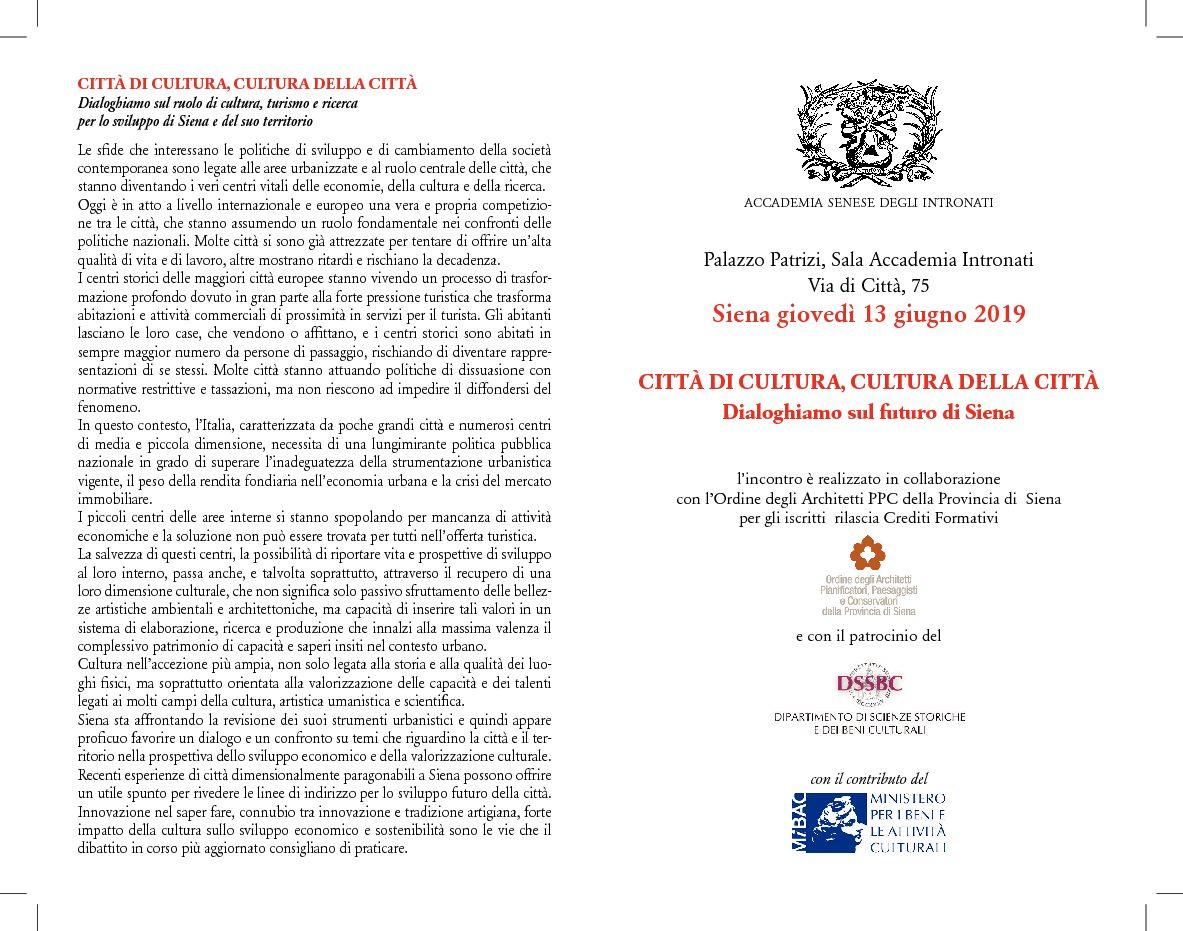 """Incontro su """"Città di cultura, cultura della città. Dialoghiamo sul futuro di Siena"""""""
