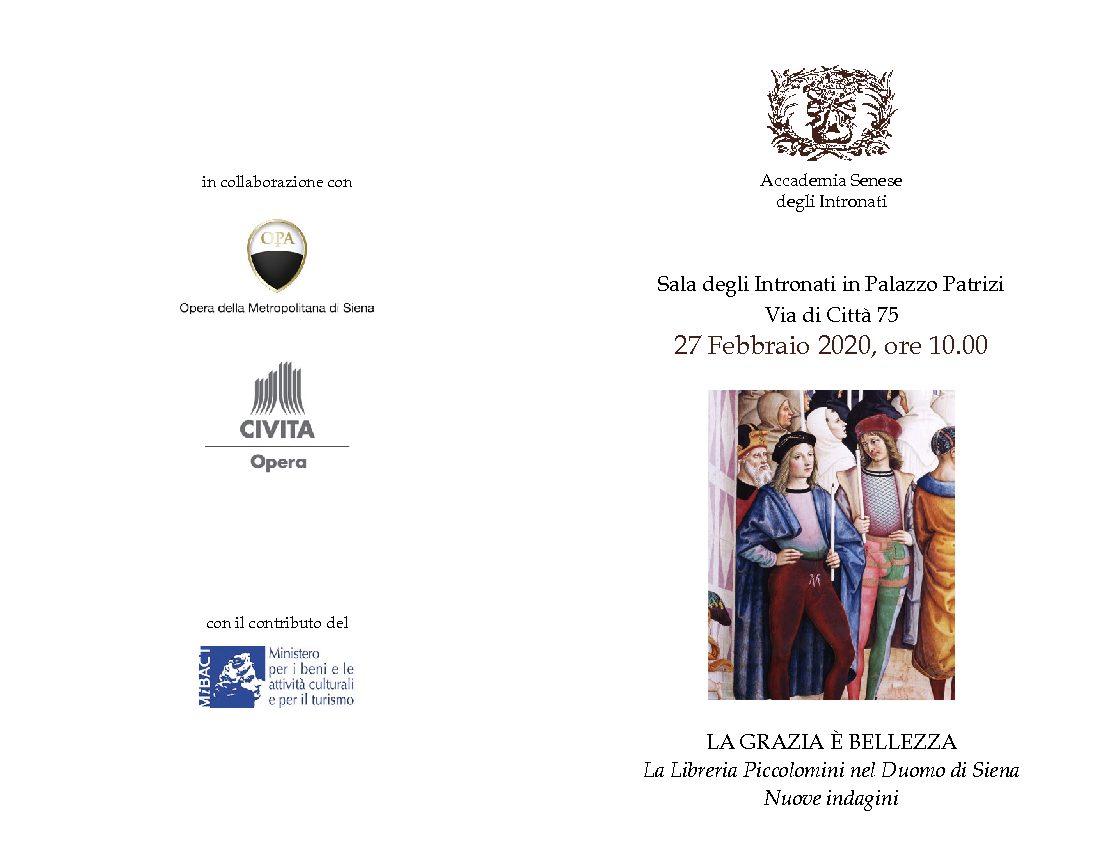 """Convegno """"La grazia è bellezza"""": le nuove indagini nella Libreria Piccolomini del Duomo di Siena"""
