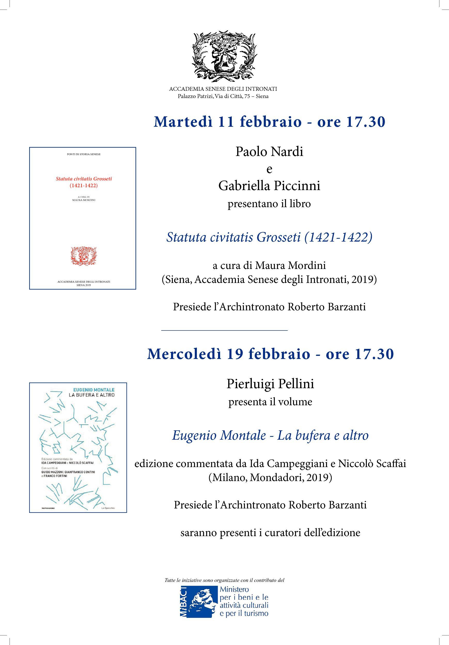 """Presentazione del volume """"Eugenio Montale – La bufera e altro"""""""