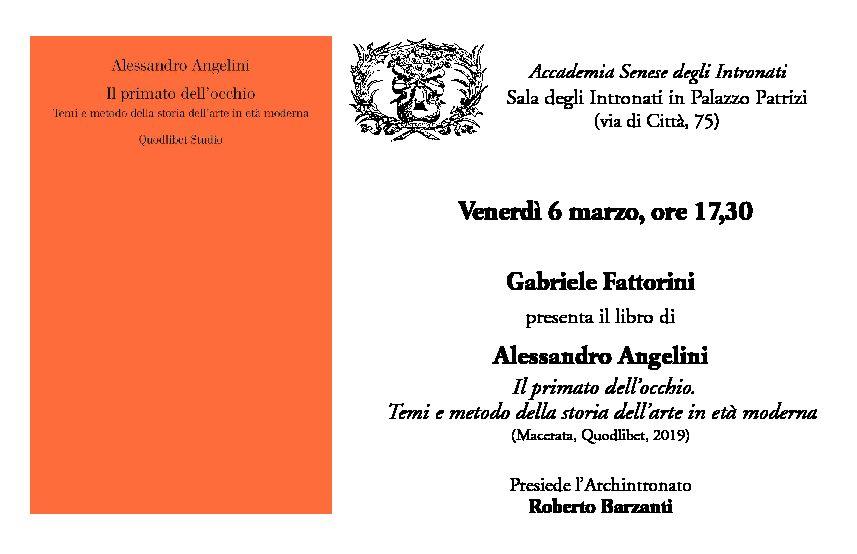 """Presentazione del volume """"Il primato dell'occhio"""" di Alessandro Angelini"""